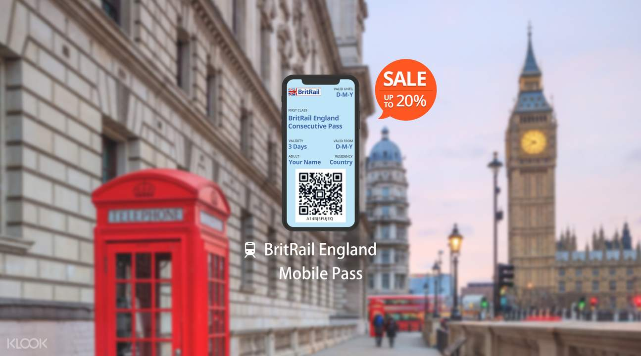 [Sale] BritRail England Mobile Pass (Consecutive 3, 4, 8, 15, 22 Days or 1 Month)